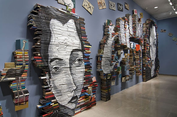 18-Mike-Stilkey-Books-used-as-Canvasses-for-Paintings-www-designstack-co