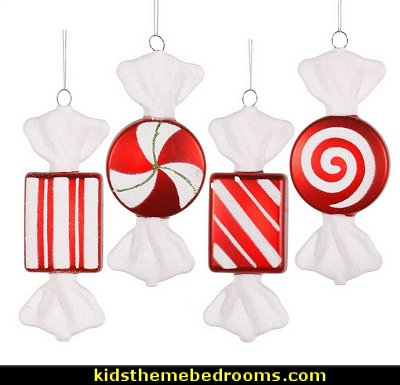 Candy Christmas Hanging Ornament   candy Christmas theme decorating - candy themed christmas decorations - christmas candyland decorations -  candy ornaments -  candy shaped holiday ornaments - candy themed Christmas decor -   lollipop candy swirls Throw Pillows - candy stripe Chritmas decor
