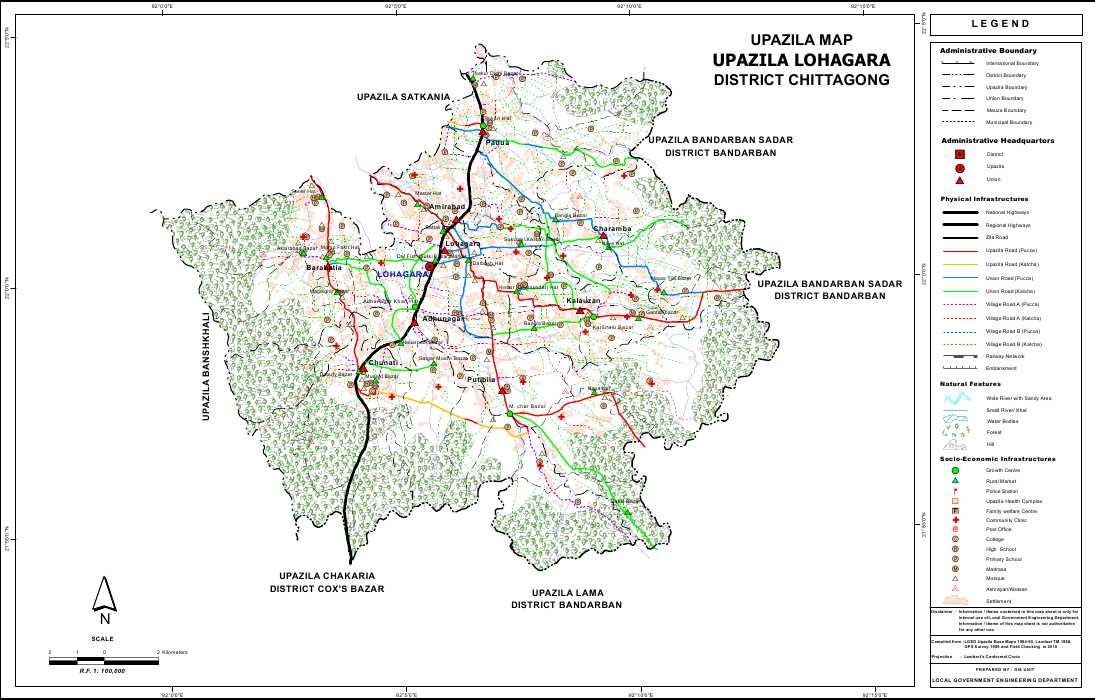 Lohagara Upazila Map Chittagong District Bangladesh