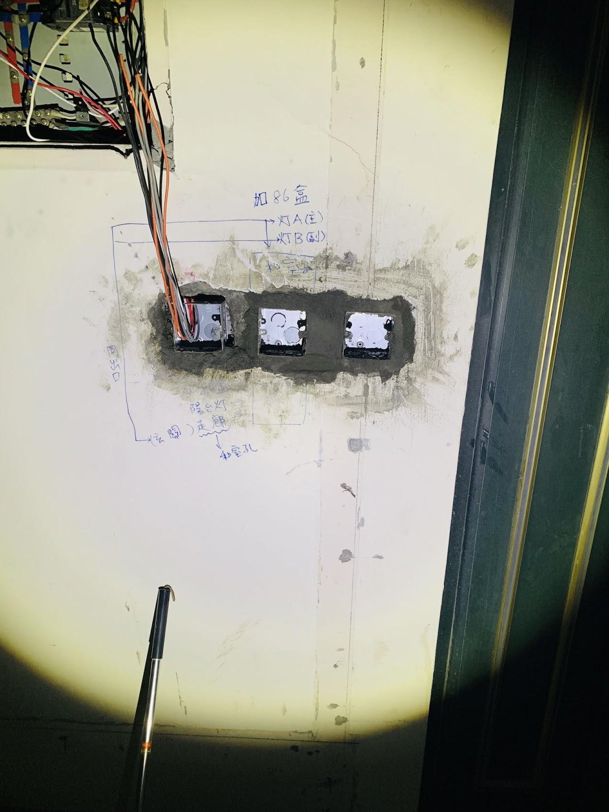 86暗盒埋設工程-配線