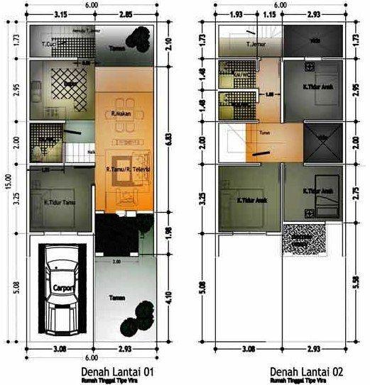 Denah Rumah Minimalis 2 Lantai Type 36