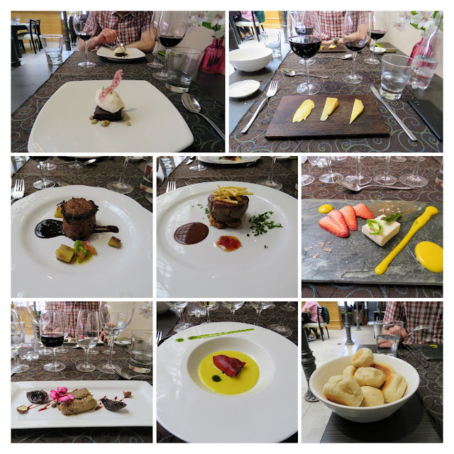 7 course tasting menu (collage) at Clos de Chacras vineyard near Mendoza Argentina