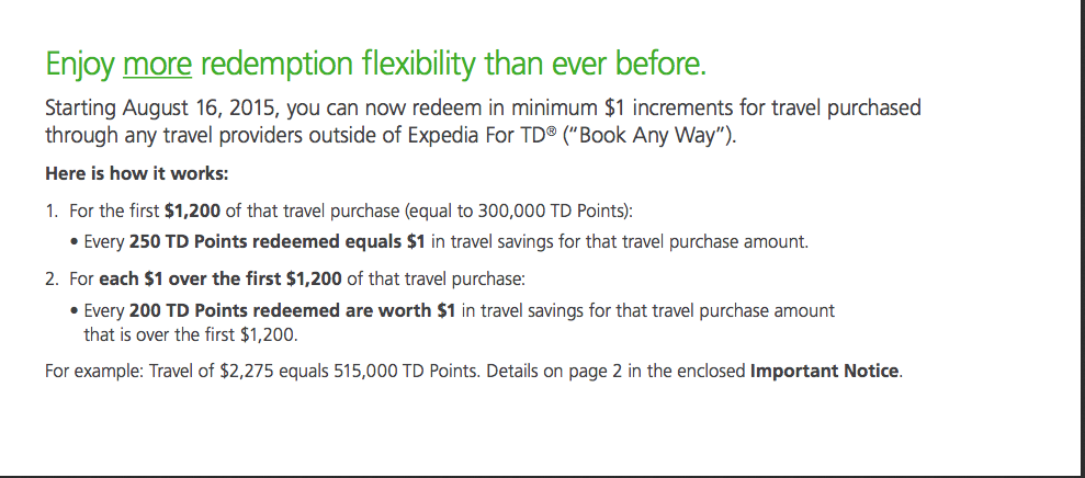 Expedia For TD. Get the best value for your points by redeeming 1 them for travel Purchases made with your travel or rewards TD Credit Card through anatomi.ga Enjoy all the travel services of Expedia on a site exclusive to travel or rewards TD Credit Cardholders where you can earn points on the travel Purchases you make using your travel or rewards TD Credit Card.