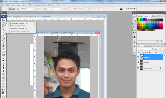 Now, use Marquee tool (I used Rectangular Marquee Tool here)