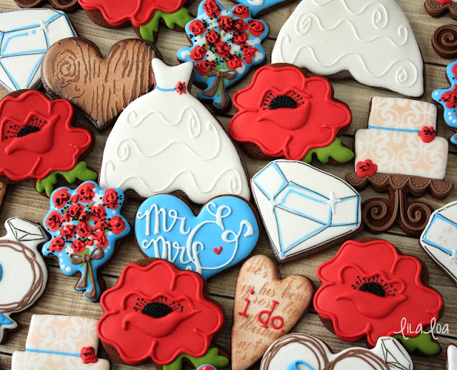Poppy wedding sugar cookies -- poppies, bouquets, hearts, wedding gown, wedding cake cookies