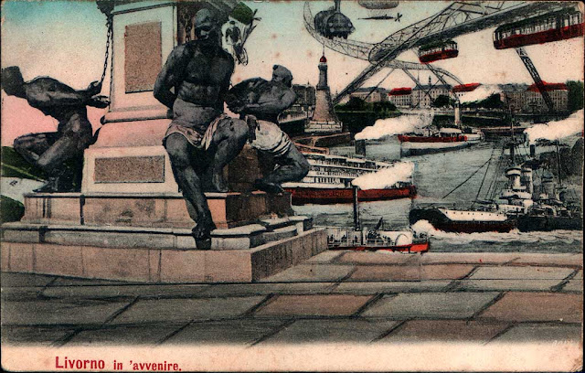 Livorno in avvenire, Livorno in the future, 1906 vintage postcard