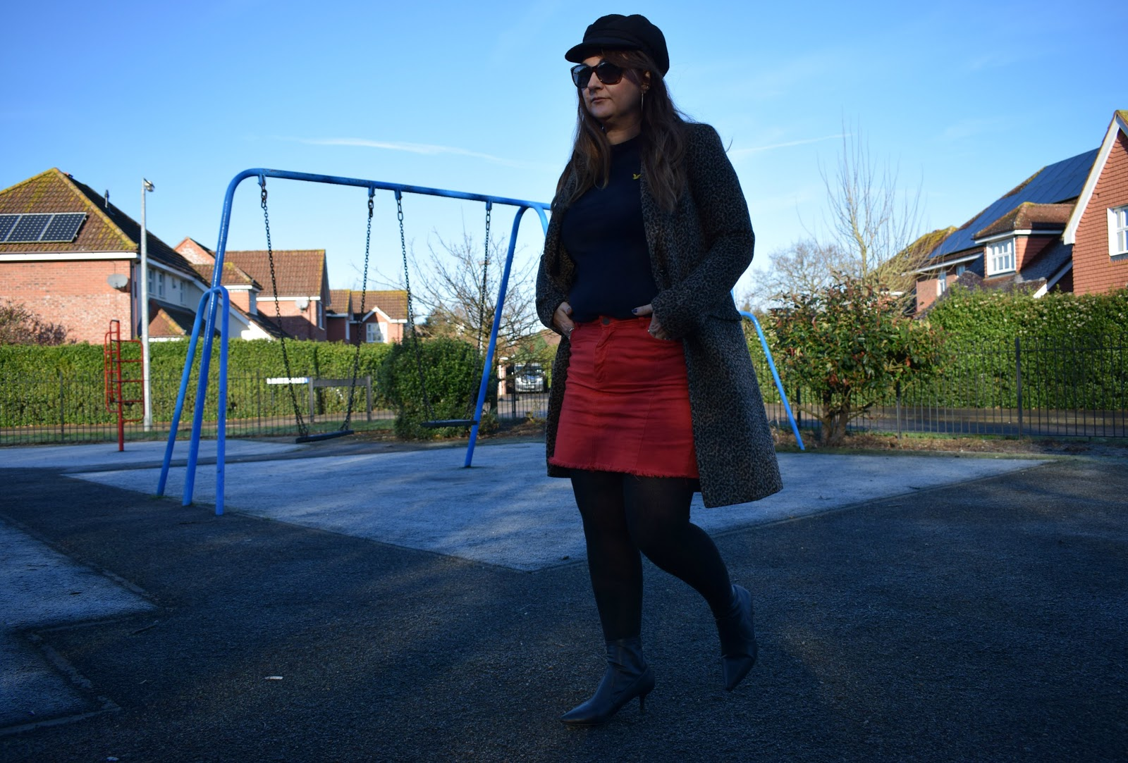 styling a red denim skirt