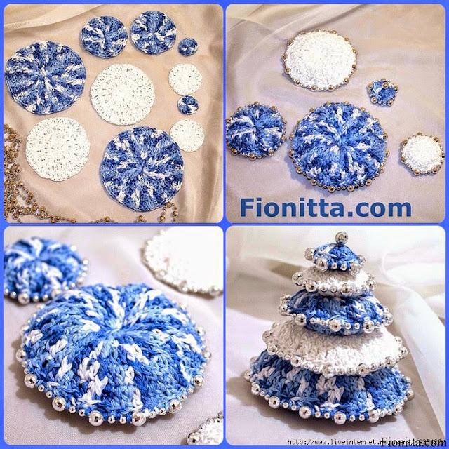 Arbol de navidad con crochet y perlas