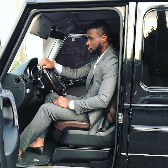 PHOTOS- Peter Okoye Poses Inside His Mercedes G Wagon (Photo)