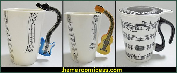 Guitar Handle Coffee Milk Ceramic Tea Mugs -  music themed  Coffee Milk Ceramic Tea Mug