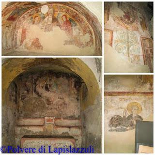 particolari affrescati nella basilica di San Felice a Cimitile