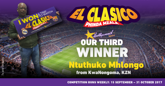 Meet the 3rd winner of Hollywoodbets' 2017/18 El Clasico promotion, Ntuthuko Mhlongo from KZN