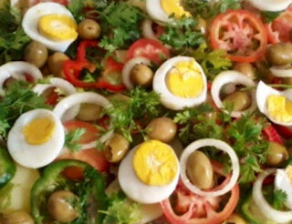 Traditional bacalhau salad