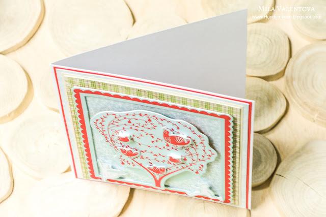 """Скрапбукинг открытка """"Нежный новый год."""" Мила Валентова."""