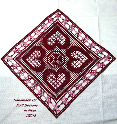 Red Hearts and Flowers Table Topper by Ruth Sandra Sperling of RSS Designs In Fiber