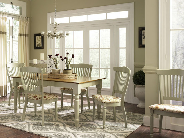 classy country dining room sets with brown square table completed with double vase flower on top and amazing hanging lamp