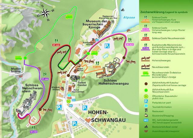 mapa de la zona de castillos de baviera (oficina de turismo)