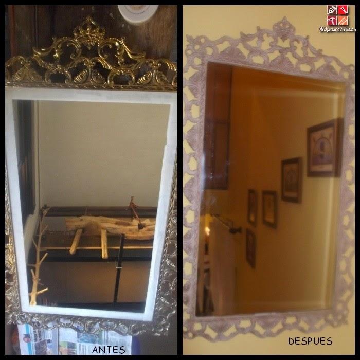antes y después de un espejo con pintura a la tiza