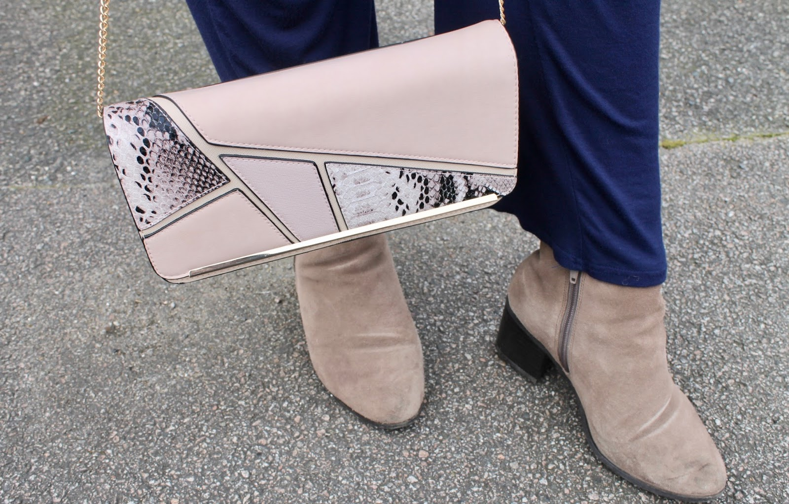 Pastel Handbags and Nude Boots