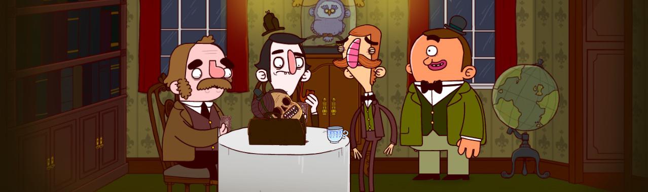 Sherlock Holmes, Watson, Bertram y Gavin frente a una cabeza mutilada.