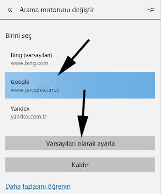 edge arama motoru ekleme ve değiştirme - google