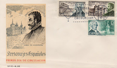 Sobre Primer Día de Circulación de los sellos de personajes ilustres 1973 con Juan de Villanueva frente al Museo del Prado