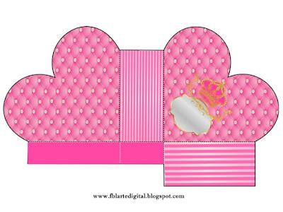 Caja abierta en forma de corazón de Corona Dorada en Fondo Rosa con Brillantes.