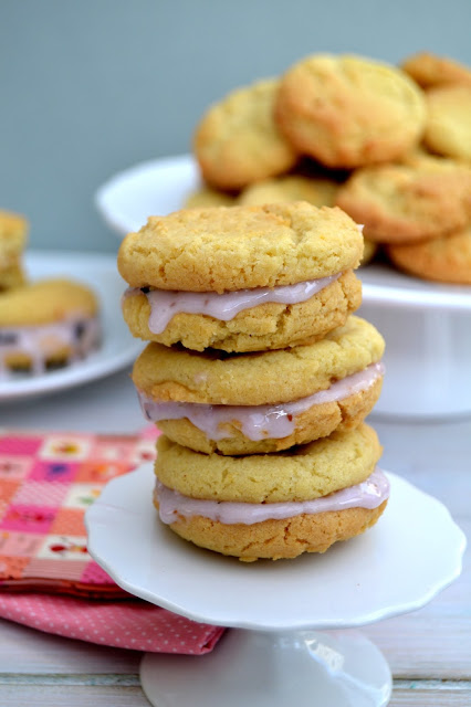 lemon cookies with drippy blueberry icing