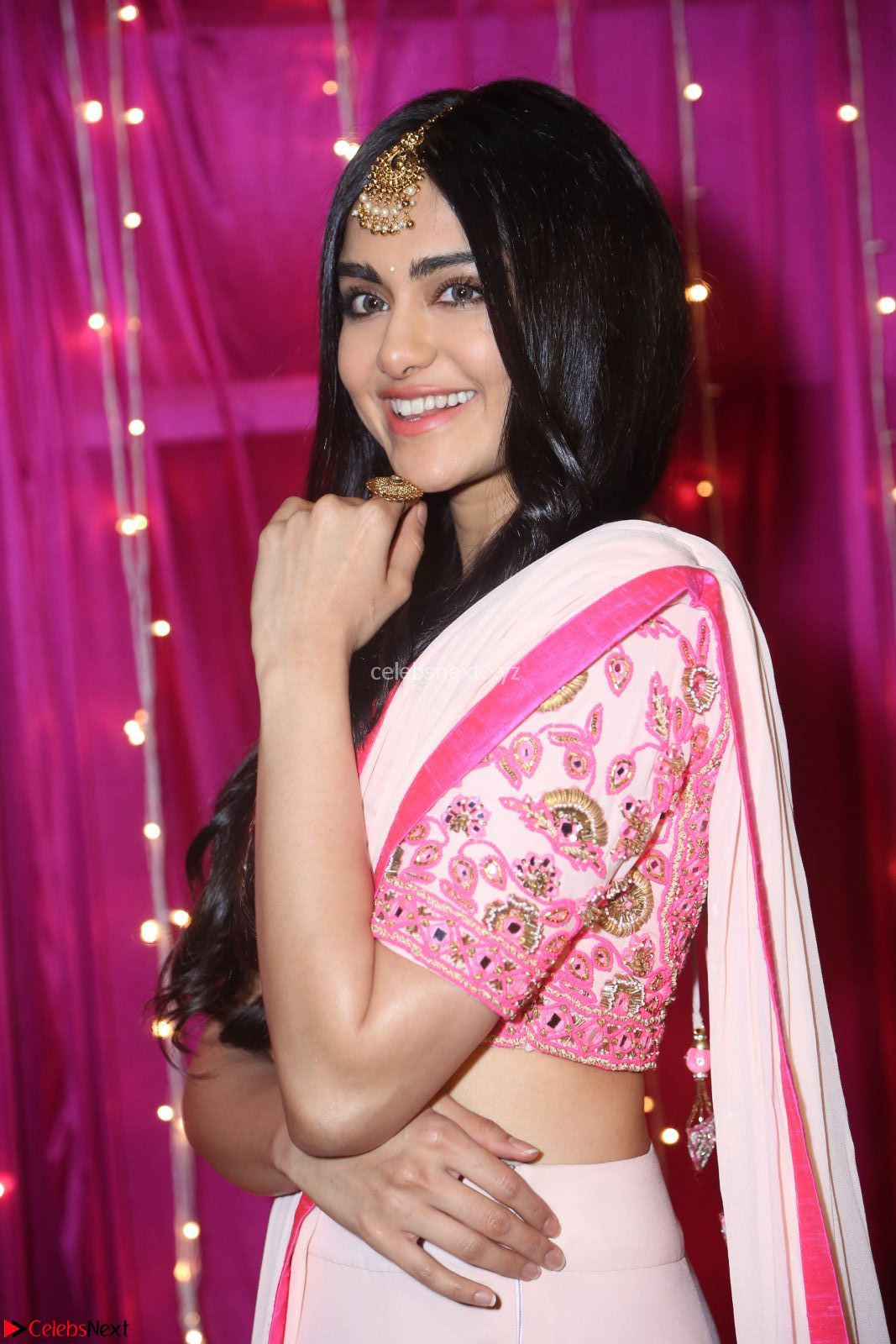 Adaa Sharma in White Pink Saree at Zee Telugu Apsara Awards 2017 9th April 2017~ CelebsNext Exclusive