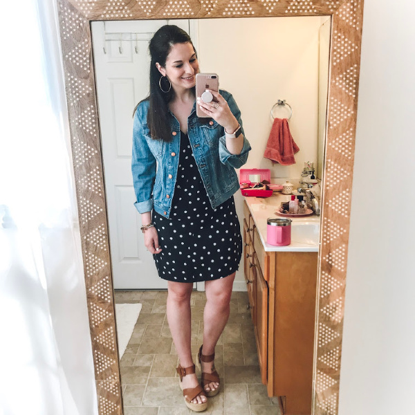how to style a polka dot dress, target find, what to buy for spring, polka dot dress, north carolina blogger, style on a budget