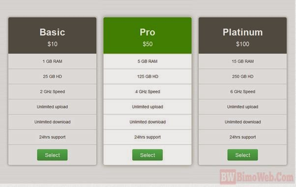 10 best boostrap pricing table design with css3 and jquery for Table css template