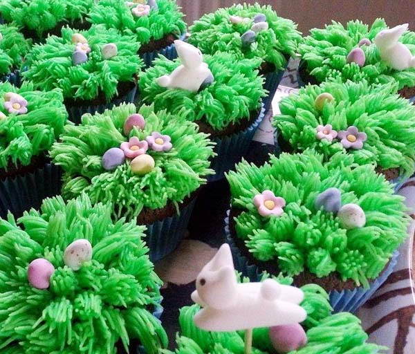Sugar Bunnies Frolicking on Grassy Meadows of Easter Cupcakes