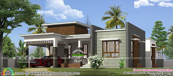 1450 sq-ft 3 bedroom flat roof house plan