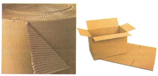 Bahan karton korigated gelombang (kiri) dan kardus (kanan) untuk kemasan distribusi.