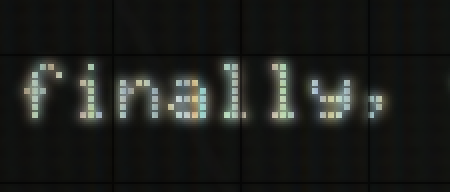 [Image: A zoomed view of the text 'finally' with a glow and color overlay effect.]