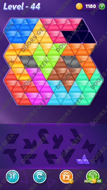 Block! Triangle Puzzle Grandmaster Level 44 Solution, Cheats, Walkthrough for Android, iPhone, iPad and iPod