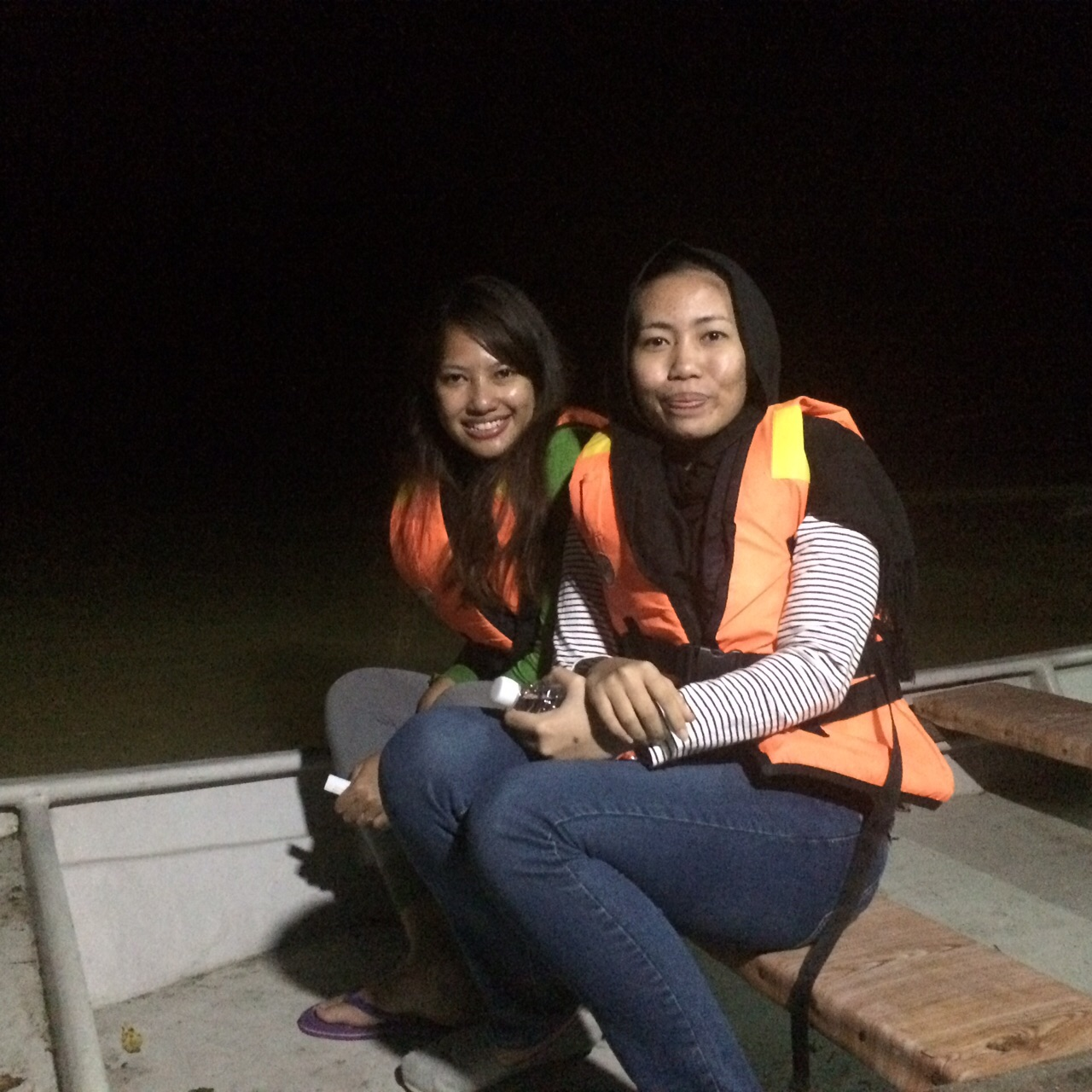 On the boat on the firefly tour in Kampung Kuantan