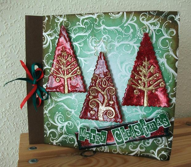 Triple Embossed Glitter Christmas Card