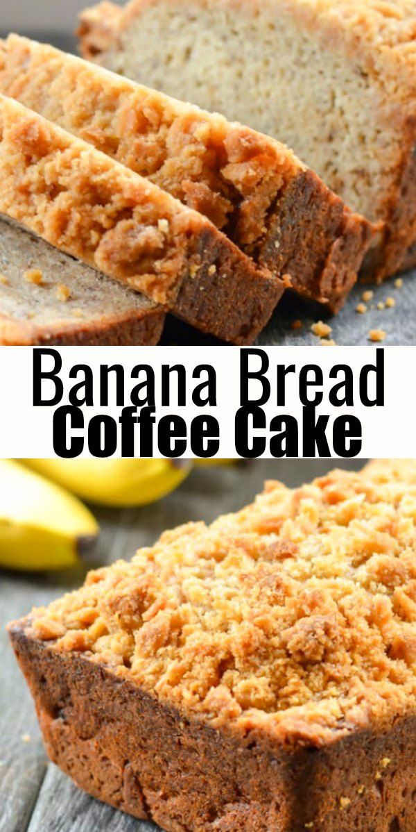 Banana Bread Coffee Cake recipe is a favorite for breakfast or dessert. A delicious loaf of quick bread for easy Banana Bread from Serena Bakes Simply From Scratch.