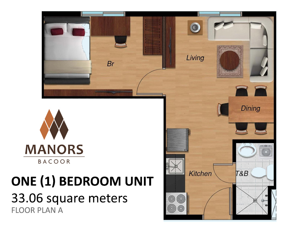 Manors Bacoor - One (1) Bedroom Unit A | Condominium for Sale Bacoor Cavite