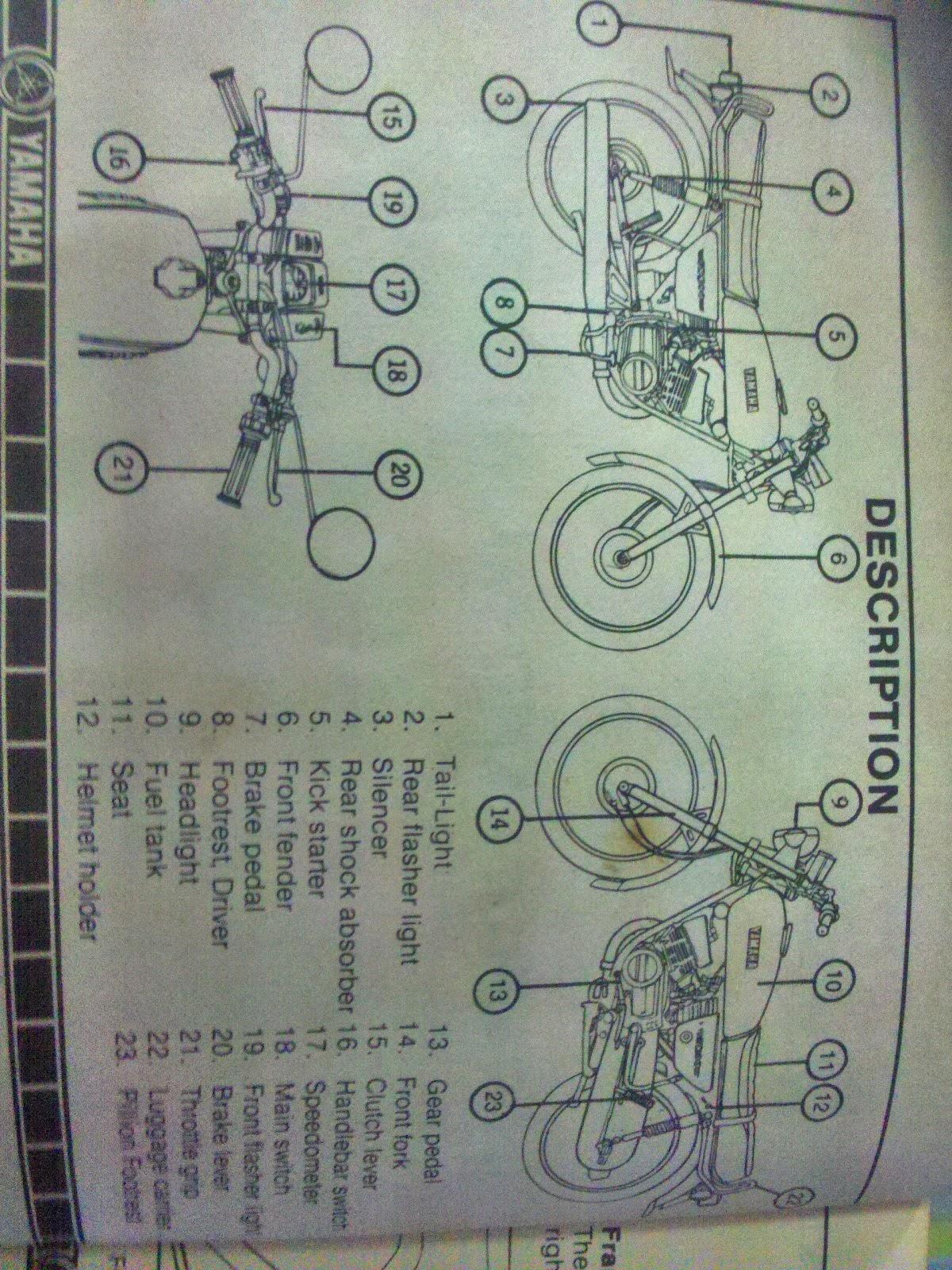 Rare Motorcycle: Yamaha rx 100 Owners manual