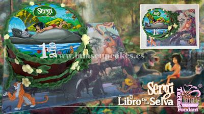 Tarta de fondant personalizada impresión comestible El Libro de la Selva Laia's Cupcakes Puerto Sagunto