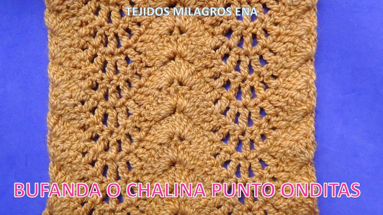 Tejidos milagros ena bufanda o chalina punto onditas paso - Puntos para tejer lana ...