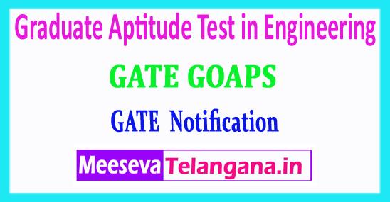 GATE Graduate Aptitude Test in Engineering 2018 Login Registration Notification