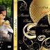 Plantilla psd color dorado con anillos para crear DVD