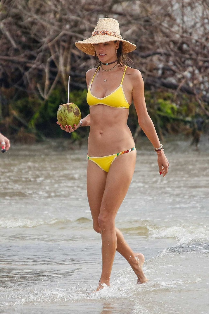 Alessandra Ambrosio bares toned physique in skimpy yellow bikini in Brazil