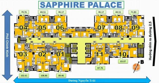 Mặt bằng tầng điển hình chung cư Sapphire Palace