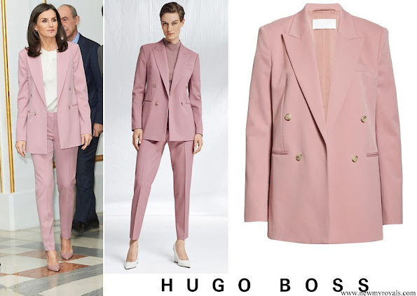 Queen Letizia wore Hugo Boss Jericoa stretch wool double breasted blazer and trousers