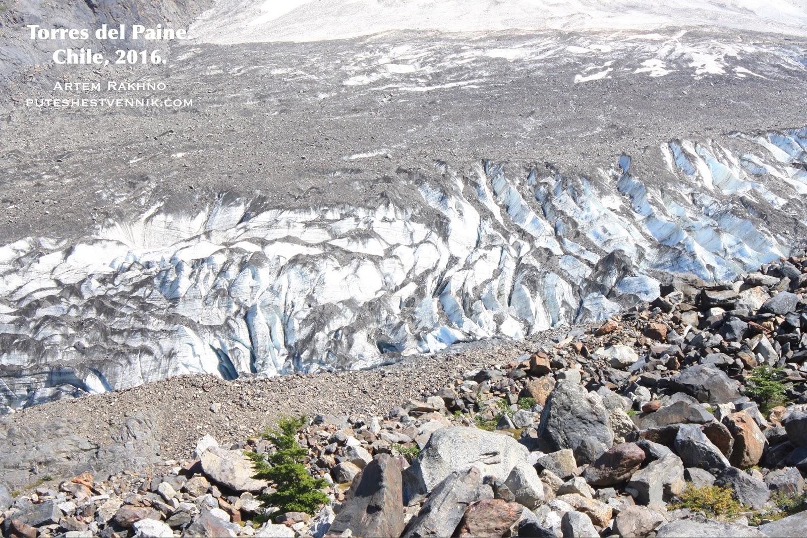 Ледник и камни в Торрес-дель-Пайне