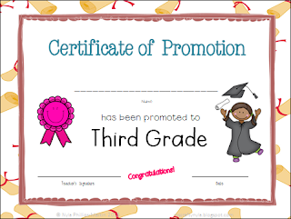 Certificate of Promotion to 3rd Grade